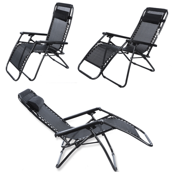 Beach lounge chair portable - Ancheer 2pcs Folding Reclining Lounge Portable Garden Beach Camping Outdoor Chair